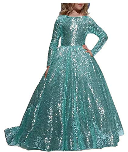 Abaowedding Flower Girl Dress Sequined Pageant Ball Gown Kids Long Sleeves Christmas Birthday Party Dresses Teal,Size 6 (Ball Gown Pageant Dresses)