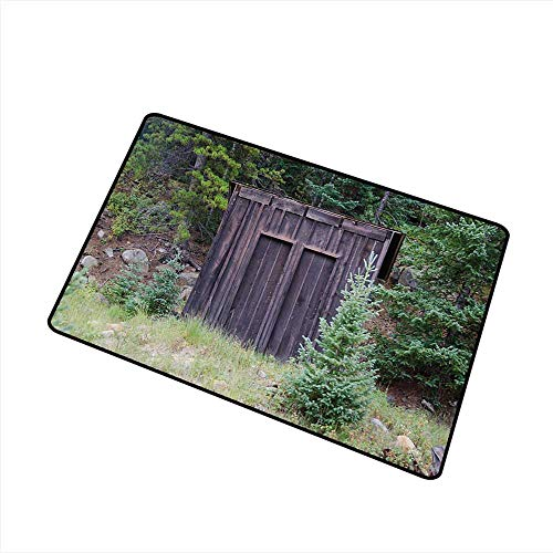 Axbkl Thin Door mat Outhouse Farm Life House Wooden Door of Cottage Hut in Woodland Leaves Art Print W30 xL39 ()