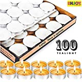 ENJOY the celebration people Wax Tealight Candles (Set of 100, White, 4 Hours Burn Time)
