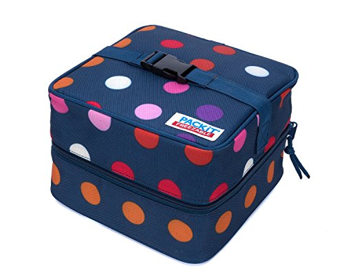 PackIt Freezable Salad Cooler Bag with Zip Closure, Dots - 2 Count