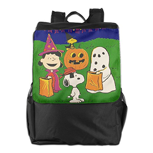 [Charlie Brown Snoopy Ghost Happy Halloween Casual Shoulder Backpack Travel Bag] (Moustache Halloween)