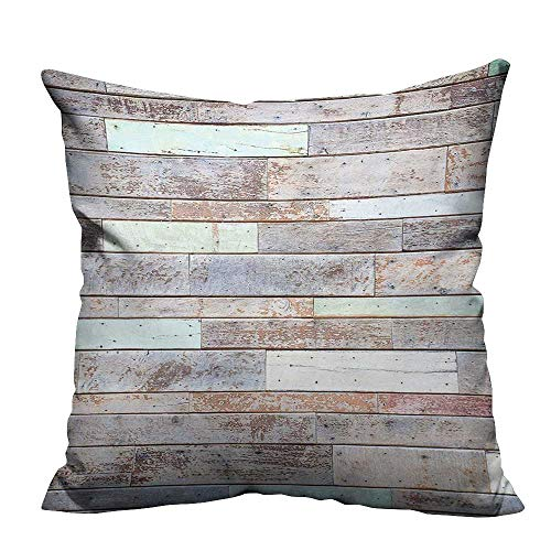 - YouXianHome Decorative Couch Pillow Cases Old Fashion Lumber Wall Boarding Building Panel Structure Brown Light Green Easy to Wash(Double-Sided Printing) 21.5x21.5 inch