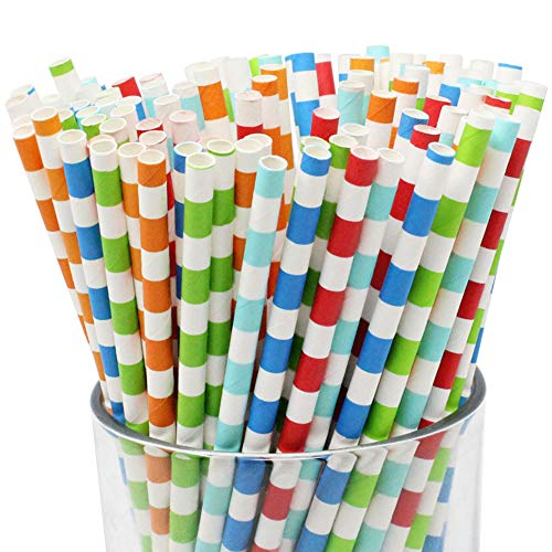 Just Artifacts Decorative Rugby Striped Paper Straws (100pcs, Rugby Striped, Assorted Colors)