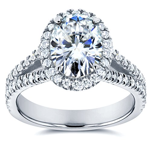 Oval Moissanite Engagement Ring with Halo Diamond 2 CTW 14k White Gold