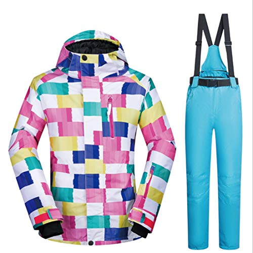 YUKILO Women's Waterproof Breathable Snowboard Ski Jacket and Pants Set (Color : 08, Size : S)