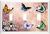 bb BEAUTIFUL BUTTERFLY FLORAL HOME DECOR LIGHT SWITCH PLATE COVER OR OUTLET (3X TOGGLE (TRIPLE))