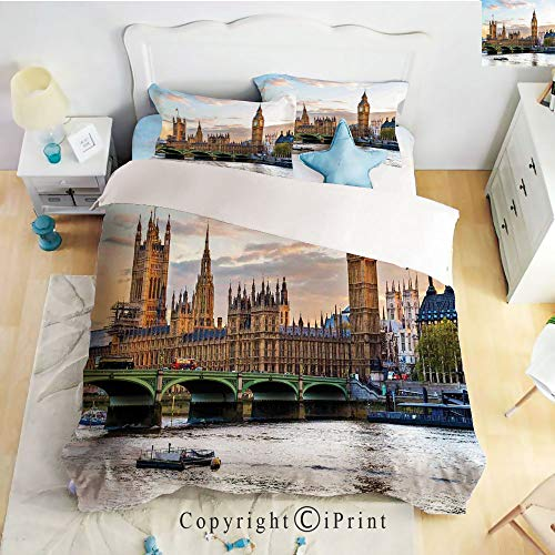 Classic Sheets 4 Piece Bed Sheet Set,Sunset Scenery of The Palace of Westminster Houses of Parliament and Big Ben Image,Multicolor,Twin Size,Softest Bed Sheets and Pillow Cases ()