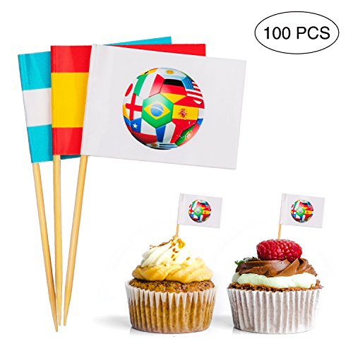 jollylife 2018 World Soccer Game Toothpick International Flags - Cupcake Toppers Cocktail Sticks Picks Party Supplies - Cupcake Flags