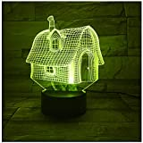 3D Effect Lamp Night Light for Kids LED Illusion Night Light Desk Table Lamp Touch Control House Model Glow Lamps 7 Color Change for Children Home Decoration Birthday Gift