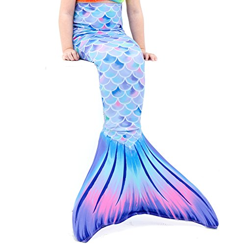 Play Tailor Mermaid Tail Swimmable Costume Swimsuit for Girls Swimming(No monofin) (Child 8, Light Purple)