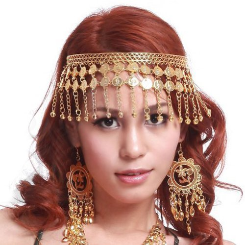 (BellyLady Belly Dance Tribal Gold Coins Headband, Gypsy Jewelry, Gift)