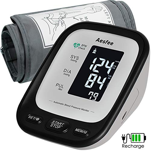 Upper Arm Blood Pressure Monitor USB Rechargeable, Digital Automatic Measure Blood Pressure and Heart Rate Pulse with Wide Range 22-42cm Large Cuff, Backlit LCD Display