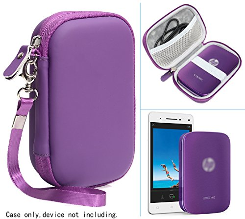 Purple Protective Case for HP Sprocket Portable Photo Printer and Polaroid ZIP Mobile Printer, with Pouch for Photo Paper and Cable - Camera Lens Illustration