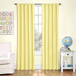 Eclipse Kids Microfiber Room Darkening Window Curtain Panel, 42 by 84-Inch, Yellow