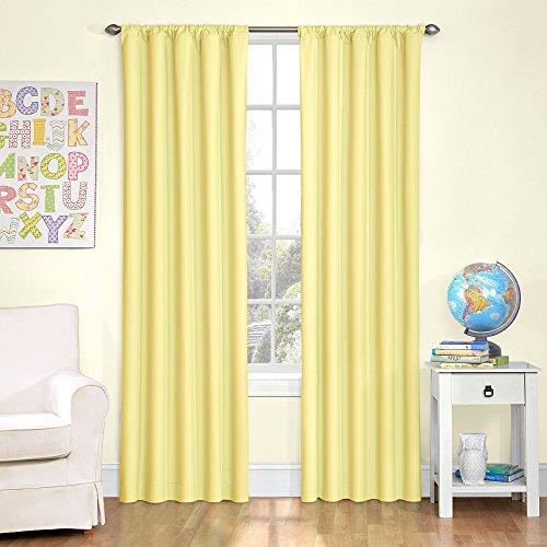 KOZDIKO Eclipse Kids 13303042X063YEL Microfiber 42-Inch by 63-Inch Room Darkening Single Window Curtain Panel, ()