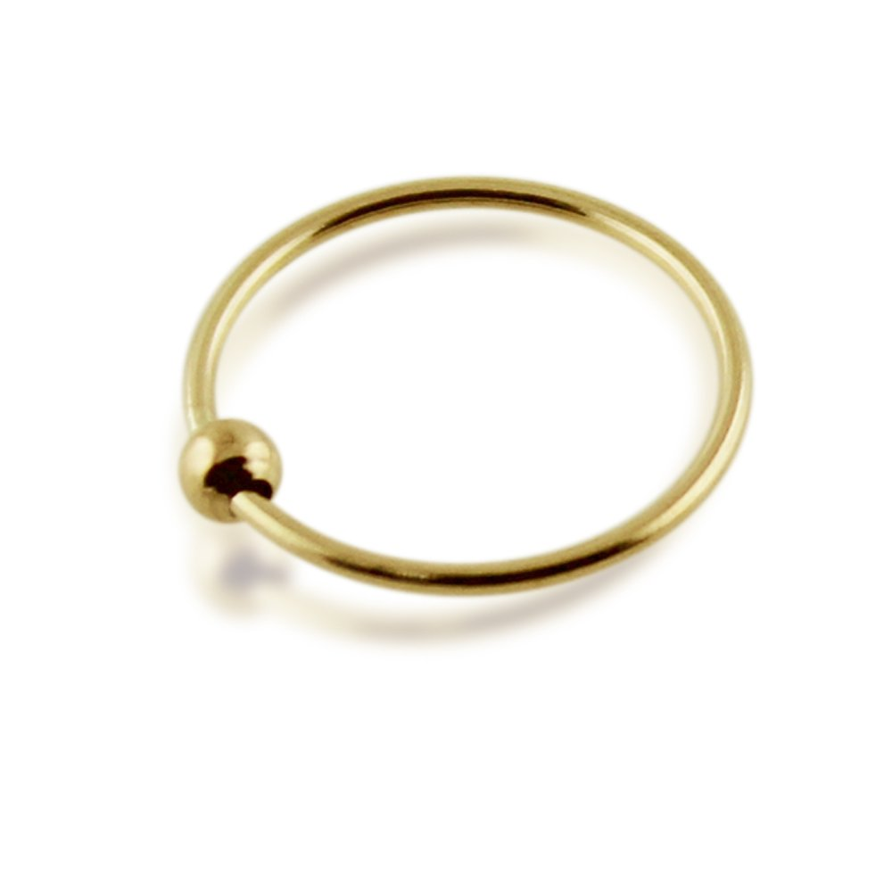 14ct Solid Yellow Gold 20 Gauge ( 0.8MM ) - 10MM Diameter Classic BCR Bead Nose Ring Nose Piercing Ring by Gold Body Jewelry