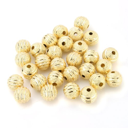 Gold Beads Plated Spacer Round - BEADNOVA 50pcs 8mm Gold Plated Round Metal Rondelle Spacer Beads Sparkle Stripe Beads for Jewelry Making