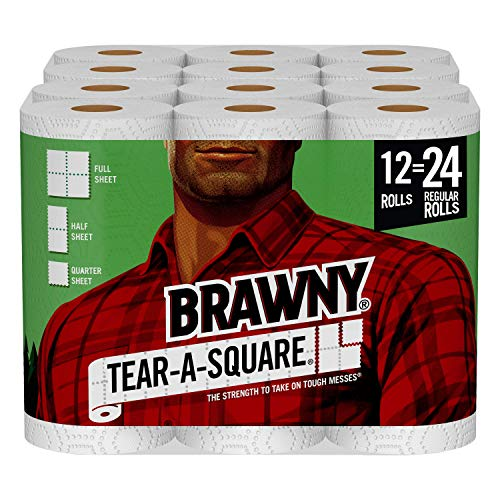 Brawny Tear-A-Square Paper Towels, 12 Double Rolls = 24 Regular Rolls, 3 Sheet Size Options, Quarter Size Sheets