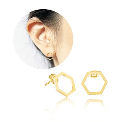830496d35 CHOA Creative Geometric Hexagon Stud Earrings - Silver Gold Rose Gold Small  Ear Studs Earing for