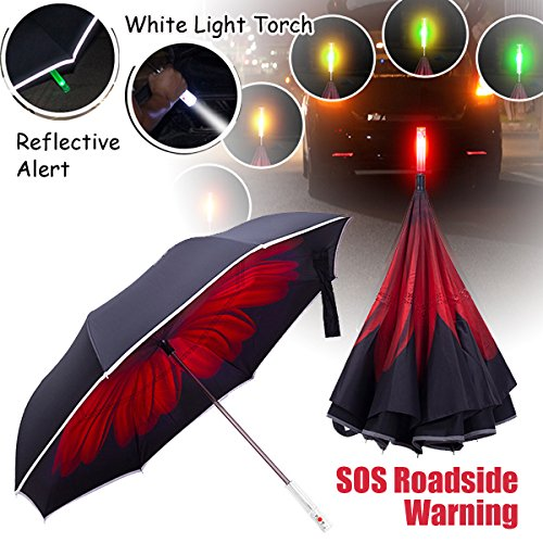 Deluxe Inverted Umbrella with Roadside SOS flashing Emergency Warning Light & LED Flashlight Handle, Vehicle Reflective Safety Stripes Reverse Cars Umbrellas (Daisies - Nz Vogue