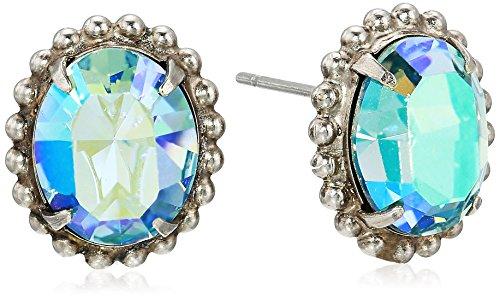 Sorrelli Oval-Cut Solitaire Stud Earrings, Blue-Green, 0.5 ()