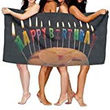 Beach Towel Cake For Birthday 80'' X 130'' Soft Lightweight Absorbent For Bath Swimming Pool Yoga Pilates Picnic Blanket Towels