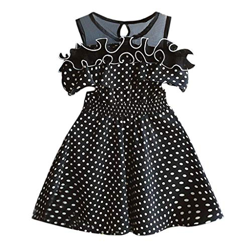 Pageant Polka Dot - miqiqism Toddler Girls Princess Dress Summer Polka Dot Print Cold Shoulder Ruffle Sleeveless Pageant Swing Party Dresses (Black, 3-4 Years)