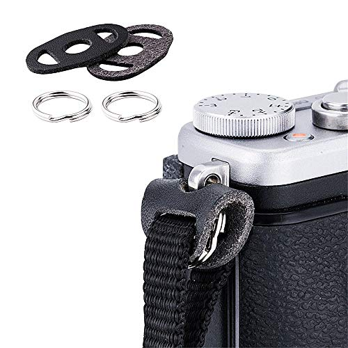 (JJC Lug Collar O Ring Split Adapter w/ Leather Protector Piece for Shoulder Neck Strap Small Eyelets Camera Fujifilm X-T3 X100F X100T X-Pro2 X-T2 X-T20 Sony A7III A7RIII A7S A6500 A6300 A6000 RX100)