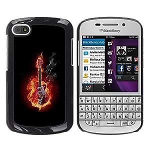 A-type Arte & diseño plástico duro Fundas Cover Cubre Hard Case Cover para BlackBerry Q10 (Guitarra En Fuego y Humo)