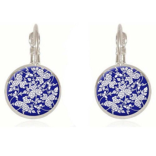 Luck Wang Women's Fashion Fashion 18mm Blue and White Wind Retro Time Gem Earrings(Sliver)
