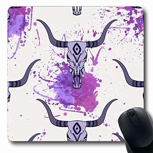 Ahawoso Mousepads Dead Watercolor West Bull Skull Ethnic Abstract Head Rodeo Wild American Aztec Blot Design Geometric Oblong Shape 7.9 x 9.5 Inches Non-Slip Gaming Mouse Pad Rubber Oblong Mat -