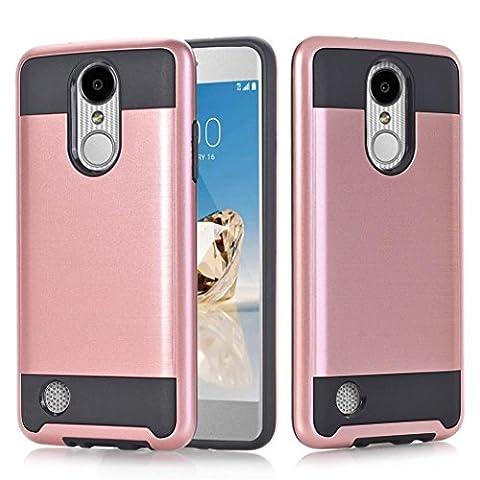 Nesee New Fashion Combat Hybrid Case Phone Cover For LG Aristo LV3 V3 MS210 LG M210 LG MS210 (Rose (V3 Watch Phone)