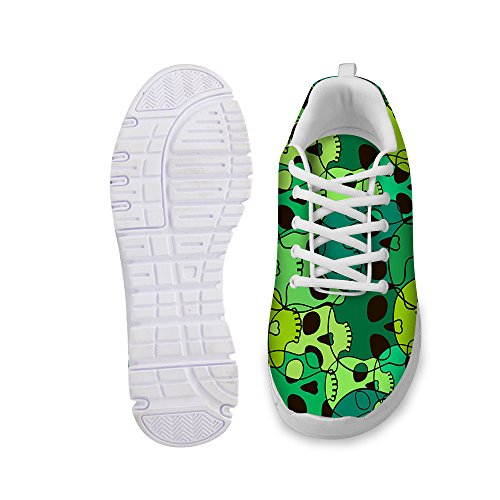 FOR U DESIGNS Cool Skull Print Womens Breathable Light Weight Lace Up Fashion Sneakers Comfortable Running Shoes Green a DVGq2x