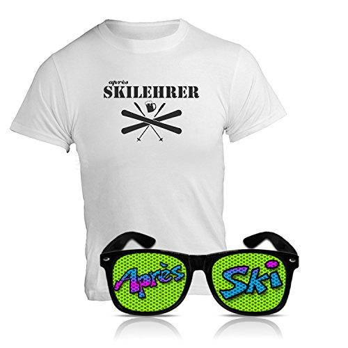 "Après Ski Party Set ""Après Ski Lehrer"" Funshirt und Spassbrille Nerd schwarz Fasching Set Party Bundle Après Ski Zubehör Funshirt und Sonnenbrille Après Ski Karnevals Set Party Bundle (X-Large)"
