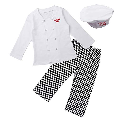 Lightbird Infant Baby Chef Apron Set Photography Props Chef Unisex Baby Uniform Costume Photo Props Outfits White
