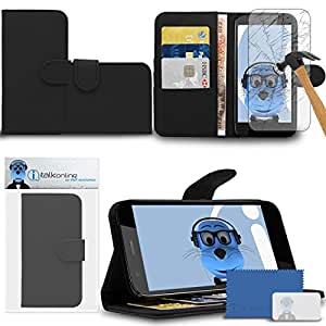 iTALKonline Motorola Moto G (2013) Black PU Leather Executive Multi-Function Wallet Case Cover Organiser Flip with Credit / Business Card Money Holder Integrated Horizontal Viewing Stand Includes Tempered Glass Protective LCD Screen Protector with MicroFibre Polishing Cleaning Cloth and Application Card