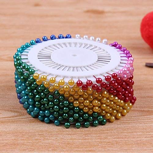 FairOnly 480 Pieces Round Pearl Head Dressmaking Pins White Weddings Florists Sewing Tools Women Mini Ball Jewelry Crystal Craft Mixed