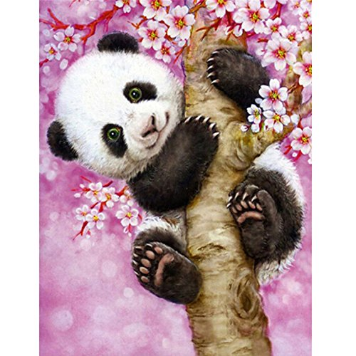 MXJSUA 5D Diamond Painting by Number Kit DIY Crystal Rhinestone Cross Stitch Embroidery Arts Craft Picture Supplies for Home Wall Decor,Panda-12.6x16In
