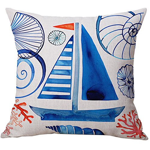 Pidada Throw Pillow Case Covers Sailboat Nautical Pattern Co