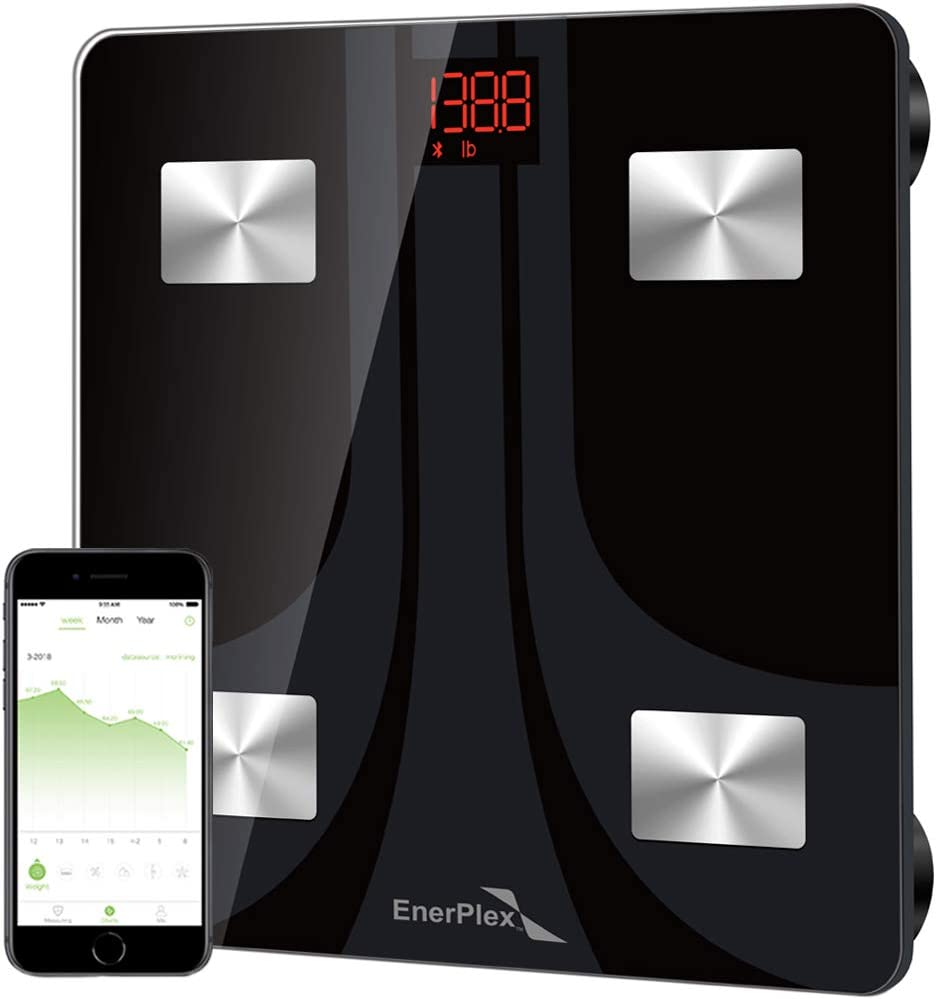 EnerPlex Fit 2020 Model Bluetooth Body Fat Scale, Weight Scales Digital Smart Body Composition Wireless Analyzer BMI Scale Health Monitor with Smartphone APP, 396 lbs Black