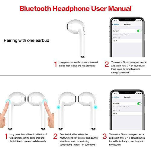 Large Product Image of Wireless Earbuds,Amuoc Bluetooth Headphones Stereo Earphone Cordless Sport Headsets for Apple AirPods iphone X/8 /7/ 7 plus/ 6/ 6s plus Android, Samsung, LG with Charging Case (white) (White)