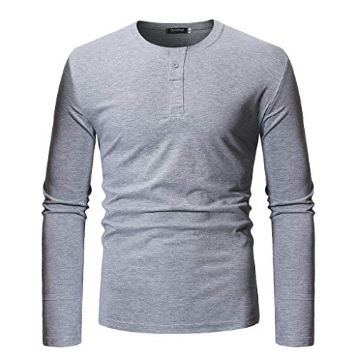 DEATU Mens Tops Pullover Long Sleeve Solid Slim Fit Men's Casual Cotton Blend Button Blouse Gym Fitness Sport Shirts (Gray,US-M/CN-L) ()