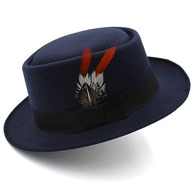 91881d2c8533e IWGR Sombrero de copa de lana Sombrero de jazz británico para hombre  Sombrero de plumas de caballero Sombrero fedora Otoño e invierno (Color    Azul oscuro