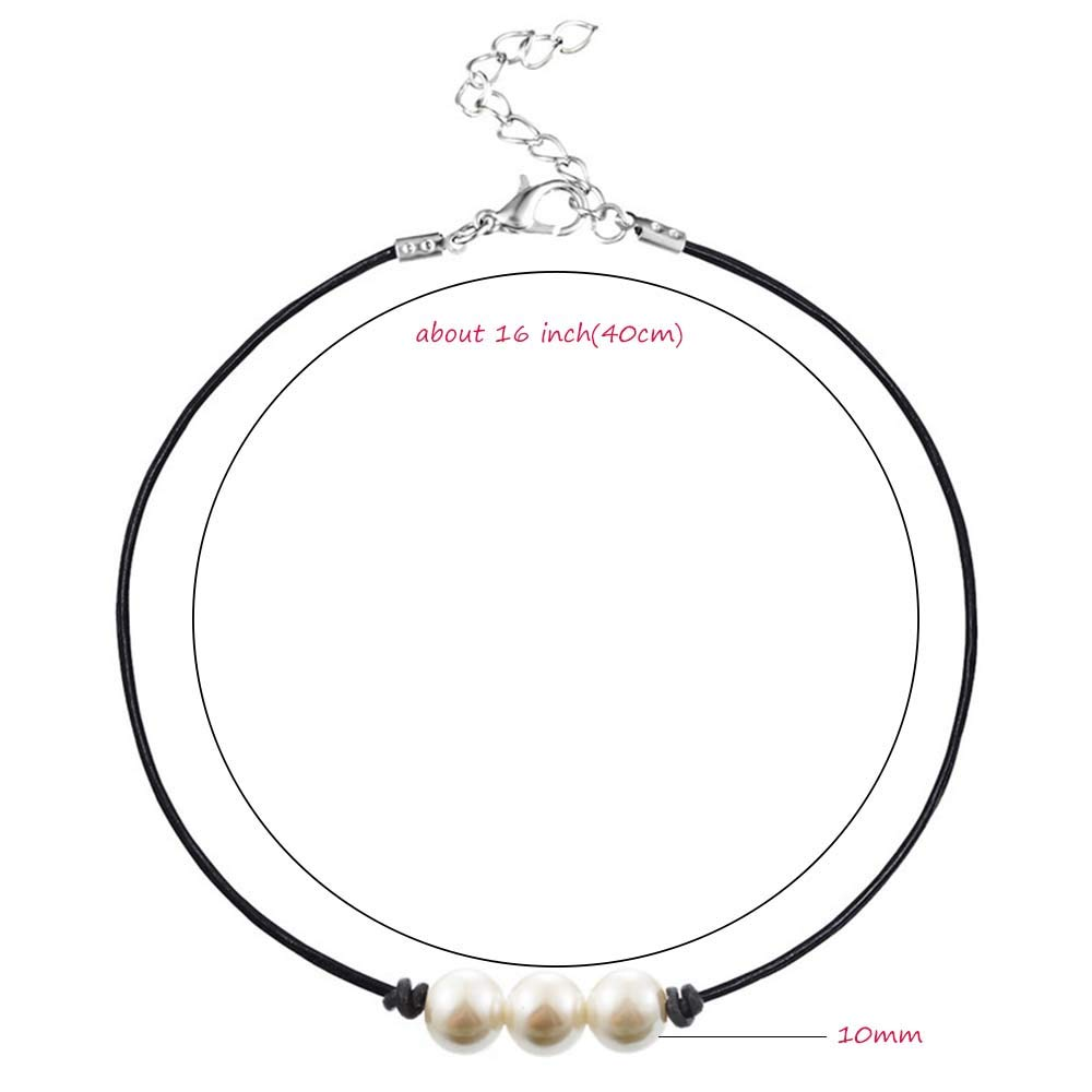 MJartoria Handmade Pearl Choker Necklace with Three Beads on Genuine Leather Cord for Women Handmade Choker Jewelry Best Gift for Women Girl Valentine Christmas