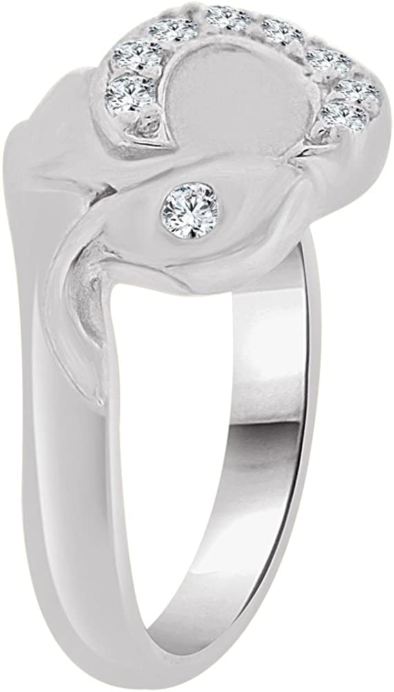 Small Size Playful Elephant Children Kids Ring with Brilliant Lab Created Gems 14k White Gold