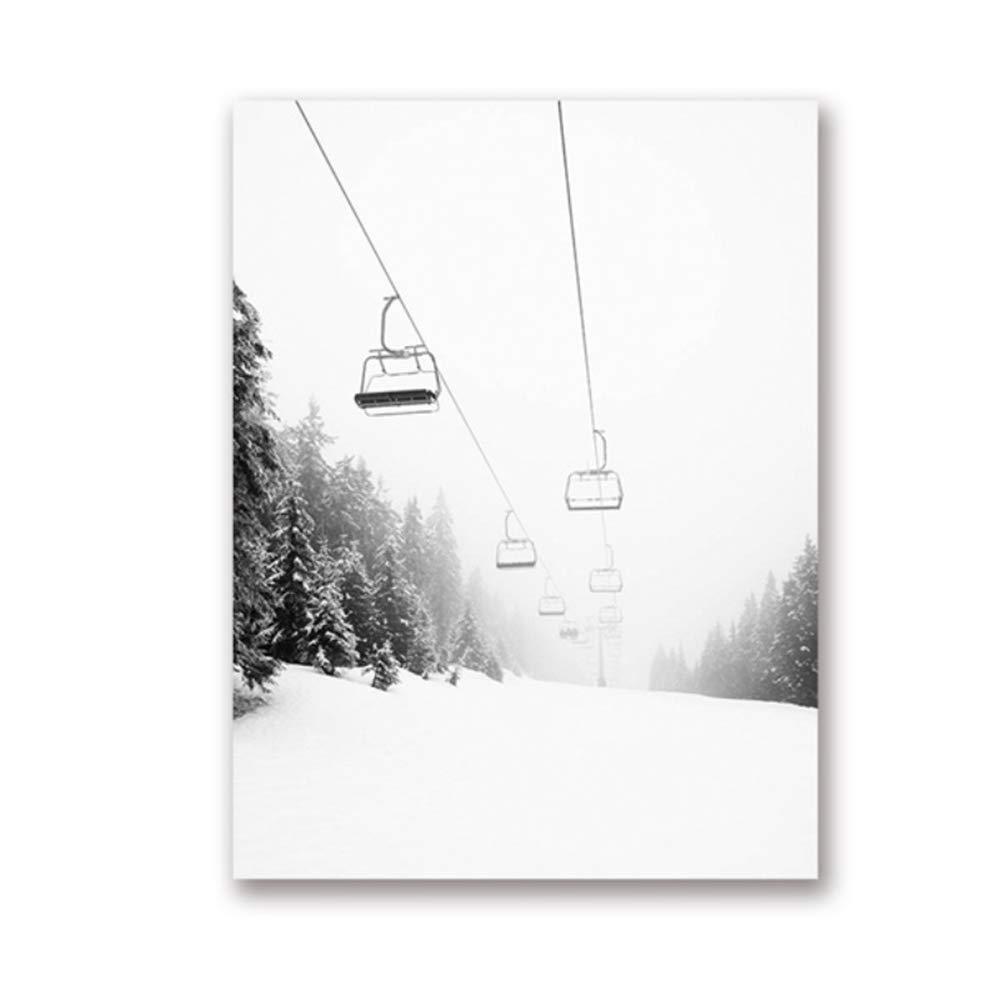 Ski Mountain Print Schwarz Wei/ß Fotografie Wandkunst Leinwand Malerei Bild Ski Liebhaber Geschenk Poster Moderne Nordic-60x80 cm Kein Rahmen
