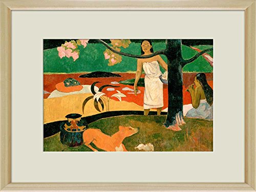 Creative 3D Visual Effect Wall Mural Two Tahitian Women and a Dog by Paul Gauguin Peel Stick Wall Decor