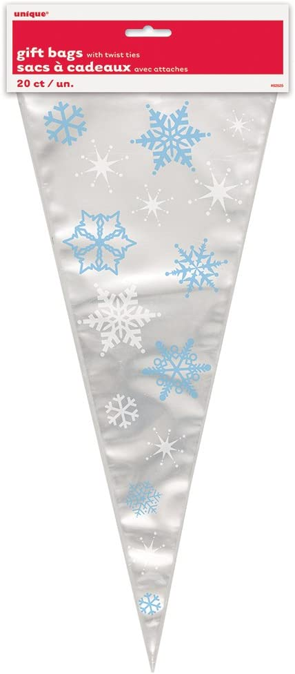 Christmas Holiday Snowflake Frozen 20 ct Cello Large Bags Party