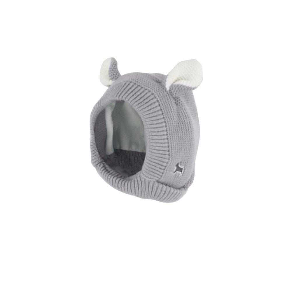Orecchie cane di lana lavorata a maglia con cappuccio sciarpa Earflap maglia cappello bebè bambino ragazze cappello da Wongfon grigio gray