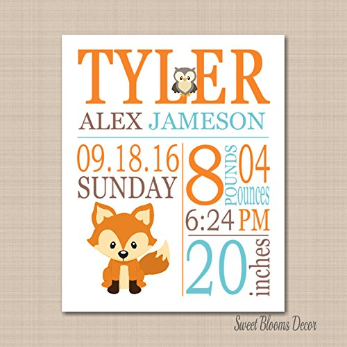 Woodland Birth Print,Woodland Birth Announcement,Woodland Baby Gift,Woodland Nursery Decorations,Woodland Nursery Décor,Fox Nursery Baby shower Fox Birth Print-8X10 UNFRAMED PRINT (NOT - Usps Mail Class First Tracking Number